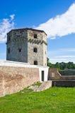Κινηματογράφηση σε πρώτο πλάνο πύργων Nebojsa και κυρία είσοδος, Βελιγράδι στοκ εικόνα