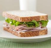 Κινηματογράφηση σε πρώτο πλάνο σάντουιτς κρέατος Deli στοκ εικόνα