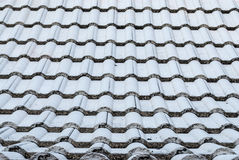 Κινηματογράφηση σε πρώτο πλάνο στην κυματιστή μορφή του υποβάθρου κεραμιδιών στεγών Στοκ εικόνες με δικαίωμα ελεύθερης χρήσης