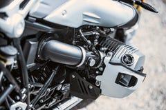 Κινηματογράφηση σε πρώτο πλάνο στοιχείων πολυτέλειας μοτοσικλετών: Μέρη μοτοσικλετών Στοκ Εικόνα