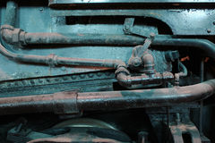 Κινηματογράφηση σε πρώτο πλάνο της ατμομηχανής μηχανισμών Στοκ Φωτογραφία