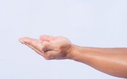 Κινηματογράφηση σε πρώτο πλάνο της εκμετάλλευσης χεριών ατόμων στο άσπρο υπόβαθρο Στοκ εικόνα με δικαίωμα ελεύθερης χρήσης