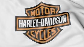 Κινηματογράφηση σε πρώτο πλάνο της κυματίζοντας σημαίας με τη Harley-Davidson, INC λογότυπο, εκδοτική τρισδιάστατη απόδοση ελεύθερη απεικόνιση δικαιώματος