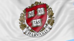 Κινηματογράφηση σε πρώτο πλάνο της κυματίζοντας σημαίας με το έμβλημα του Χάρβαρντ, άνευ ραφής βρόχος, μπλε υπόβαθρο Εκδοτική ζωτ απεικόνιση αποθεμάτων