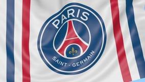 Κινηματογράφηση σε πρώτο πλάνο της κυματίζοντας σημαίας με το Παρίσι Άγιος-Ζερμαίν Φ Γ λογότυπο λεσχών ποδοσφαίρου, άνευ ραφής βρ απόθεμα βίντεο