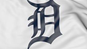 Κινηματογράφηση σε πρώτο πλάνο της κυματίζοντας σημαίας με το λογότυπο ομάδων μπέιζμπολ τιγρών MLB του Ντιτρόιτ, τρισδιάστατη από διανυσματική απεικόνιση