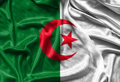 Κινηματογράφηση σε πρώτο πλάνο της μεταξωτής αλγερινής σημαίας Στοκ Εικόνα