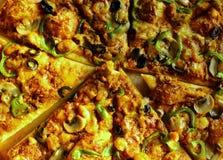 Κινηματογράφηση σε πρώτο πλάνο της πίτσας Στοκ εικόνες με δικαίωμα ελεύθερης χρήσης