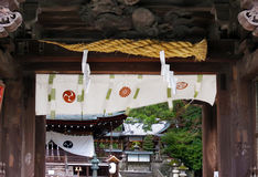 Κινηματογράφηση σε πρώτο πλάνο της πύλης των λαρνάκων Himure Hachiman, OMI-Hachiman, Ιαπωνία Στοκ εικόνα με δικαίωμα ελεύθερης χρήσης