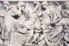 Κινηματογράφηση σε πρώτο πλάνο της Σαρκοφάγου Medea (140 BCE) στο μουσείο Altes, τζίτζιφα Στοκ Φωτογραφίες