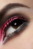Κινηματογράφηση σε πρώτο πλάνο της σύνθεσης ματιών μόδας, φωτεινή ροδανιλίνης σκιά ματιών, σκοτεινά φρύδια Στοκ Εικόνα