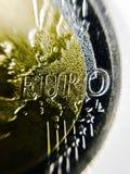 Κινηματογράφηση σε πρώτο πλάνο του ευρο- νομίσματος Στοκ εικόνα με δικαίωμα ελεύθερης χρήσης