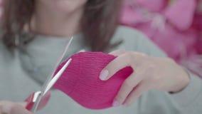 Κινηματογράφηση σε πρώτο πλάνο του ζαρωμένου ανοιχτού ροζ αμυχών εγγράφου στα θηλυκά χέρια φιλμ μικρού μήκους