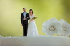 Κινηματογράφηση σε πρώτο πλάνο του ζεύγους ειδωλίων στο γαμήλιο κέικ Στοκ εικόνες με δικαίωμα ελεύθερης χρήσης