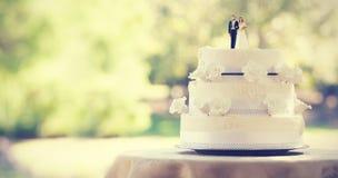 Κινηματογράφηση σε πρώτο πλάνο του ζεύγους ειδωλίων στο γαμήλιο κέικ Στοκ φωτογραφία με δικαίωμα ελεύθερης χρήσης