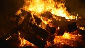 Κινηματογράφηση σε πρώτο πλάνο του καψίματος των κούτσουρων του καυσόξυλου φιλμ μικρού μήκους