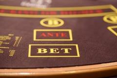 Κινηματογράφηση σε πρώτο πλάνο του πίνακα πόκερ με το στοίχημα και το προηγούμενο lables Στοκ Φωτογραφίες