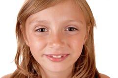 Κινηματογράφηση σε πρώτο πλάνο του προσώπου του κοριτσιού Στοκ Φωτογραφία