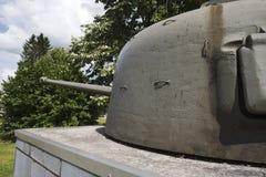 Κινηματογράφηση σε πρώτο πλάνο του πυργίσκου μιας δεξαμενής Sherman σε Hotton Στοκ Εικόνες