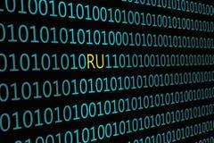 Κινηματογράφηση σε πρώτο πλάνο του δυαδικού κώδικα, με την επιγραφή ` RU ` διανυσματική απεικόνιση