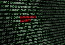 Κινηματογράφηση σε πρώτο πλάνο του δυαδικού κώδικα, με τη ασφάλεια πληροφοριών ` επιγραφής ` ελεύθερη απεικόνιση δικαιώματος
