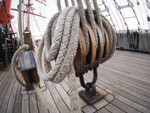 Κινηματογράφηση σε πρώτο πλάνο του φραγμού παλαιό sailboat Στοκ φωτογραφία με δικαίωμα ελεύθερης χρήσης