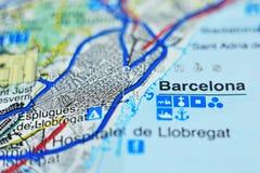 Κινηματογράφηση σε πρώτο πλάνο του χάρτη της Καταλωνίας Στοκ Φωτογραφία
