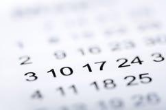 Κινηματογράφηση σε πρώτο πλάνο των αριθμών στο ημερολόγιο Στοκ Φωτογραφία