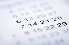 Κινηματογράφηση σε πρώτο πλάνο των αριθμών στο ημερολόγιο Στοκ φωτογραφία με δικαίωμα ελεύθερης χρήσης