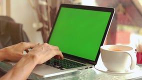 Κινηματογράφηση σε πρώτο πλάνο των αρσενικών χεριών που χρησιμοποιούν το lap-top στον καφέ με την πράσινη οθόνη απόθεμα βίντεο