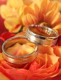 Κινηματογράφηση σε πρώτο πλάνο των γαμήλιων δαχτυλιδιών στο υπόβαθρο των λουλουδιών Στοκ Εικόνα