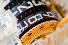 Κινηματογράφηση σε πρώτο πλάνο των ηλεκτρικών μερών πινάκων μετρητών Στοκ φωτογραφία με δικαίωμα ελεύθερης χρήσης