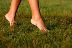 Κινηματογράφηση σε πρώτο πλάνο των θηλυκών ποδιών Στοκ φωτογραφία με δικαίωμα ελεύθερης χρήσης