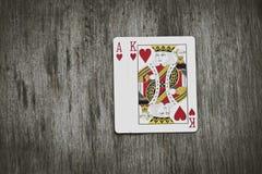 Κινηματογράφηση σε πρώτο πλάνο των καρτών blackjack που απομονώνονται Στοκ Εικόνα