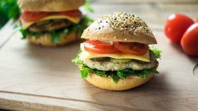 Κινηματογράφηση σε πρώτο πλάνο των κατ' οίκον γίνοντων burgers Στοκ Εικόνες