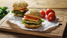 Κινηματογράφηση σε πρώτο πλάνο των κατ' οίκον γίνοντων burgers Στοκ εικόνες με δικαίωμα ελεύθερης χρήσης