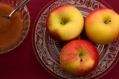 Κινηματογράφηση σε πρώτο πλάνο των μήλων και compote μήλων Στοκ φωτογραφίες με δικαίωμα ελεύθερης χρήσης