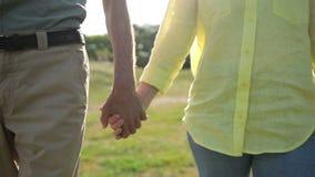 Κινηματογράφηση σε πρώτο πλάνο των πρεσβυτέρων που κρατούν τα χέρια που εκφράζουν την αγάπη απόθεμα βίντεο