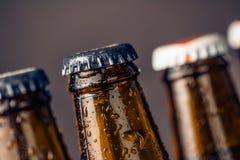 Κινηματογράφηση σε πρώτο πλάνο των φρέσκων κρύων μπουκαλιών αγγλικής μπύρας μπύρας με τις πτώσεις και το πώμα Στοκ εικόνες με δικαίωμα ελεύθερης χρήσης