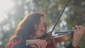 Κινηματογράφηση σε πρώτο πλάνο των χεριών ενός βιολιστή στον ήλιο Βιολιστής γυναικών φιλμ μικρού μήκους