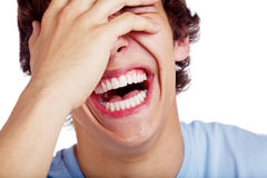Κινηματογράφηση σε πρώτο πλάνο τύπων γέλιου στοκ φωτογραφία