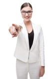 Κινηματογράφηση σε πρώτο πλάνο υπόδειξης επιχειρησιακών γυναικών χαμόγελου της νέας Στοκ φωτογραφία με δικαίωμα ελεύθερης χρήσης