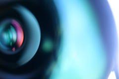 Κινηματογράφηση σε πρώτο πλάνο φακών καμερών Αφηρημένη μπλε ανασκόπηση Στοκ Εικόνες