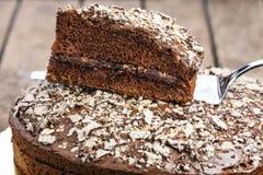 Κινηματογράφηση σε πρώτο πλάνο φετών κινηματογραφήσεων σε πρώτο πλάνο κέικ σοκολάτας Στοκ εικόνα με δικαίωμα ελεύθερης χρήσης