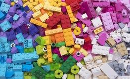 Κινηματογράφηση σε πρώτο πλάνο φραγμών Lego Στοκ Εικόνα