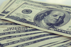 Κινηματογράφηση σε πρώτο πλάνο χρημάτων Αμερικανός εκατό δολάριο Bill Στοκ φωτογραφία με δικαίωμα ελεύθερης χρήσης
