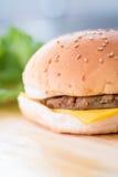 Κινηματογράφηση σε πρώτο πλάνο burger τυριών Στοκ Εικόνα