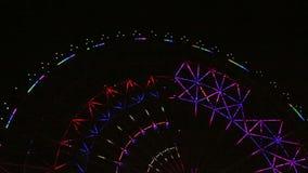 Κινηματογράφος άποψης νύχτας ροδών Ferris απόθεμα βίντεο