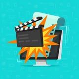 Κινηματογράφος ή σε απευθείας σύνδεση κινηματογράφος στη διανυσματική απεικόνιση έννοιας υπολογιστών, επίπεδο σχέδιο κινούμενων σ Στοκ εικόνα με δικαίωμα ελεύθερης χρήσης