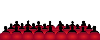 Κινηματογράφος ακροατηρίων, θέατρο Πλήθος των ανθρώπων στην αίθουσα συνεδριάσεων, διάνυσμα σκιαγραφιών, θεατές διανυσματική απεικόνιση